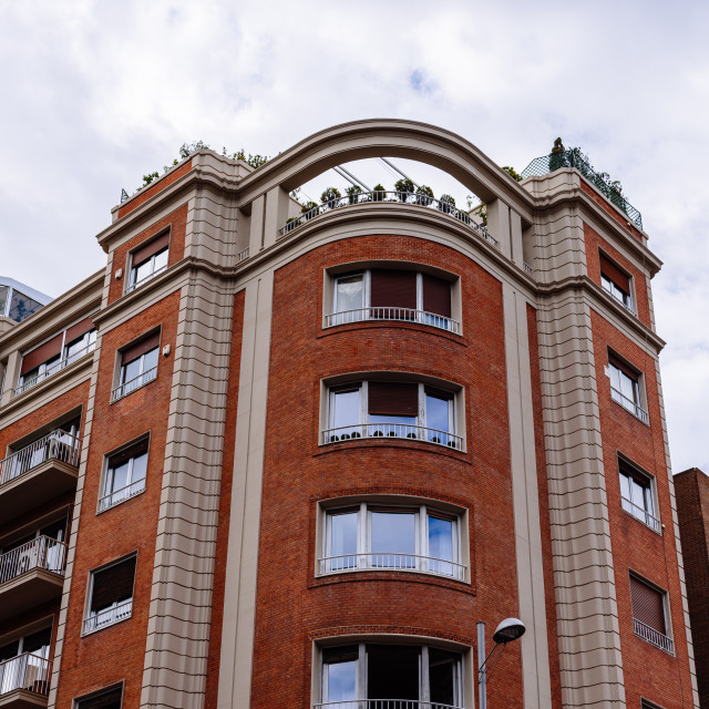 """""""Luxury residential brick buildings in central Madrid"""" stock image"""