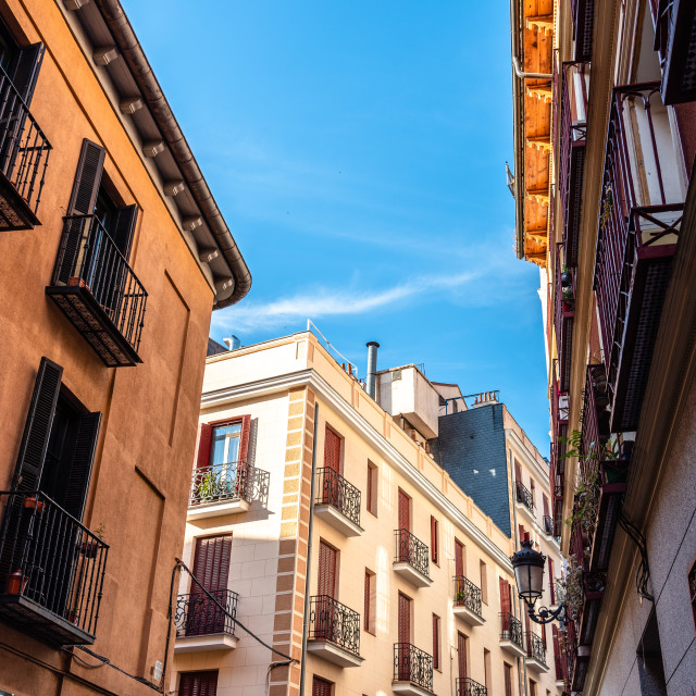 """""""Traditional residential buildings in the quarter of Las Letras in Central Madrid"""" stock image"""