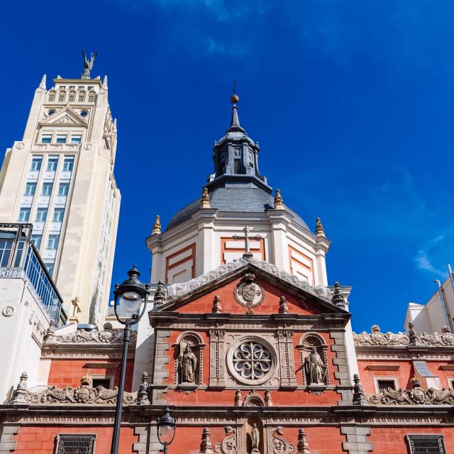 """Church of las Calatravas in Alcala Street in central Madrid"" stock image"
