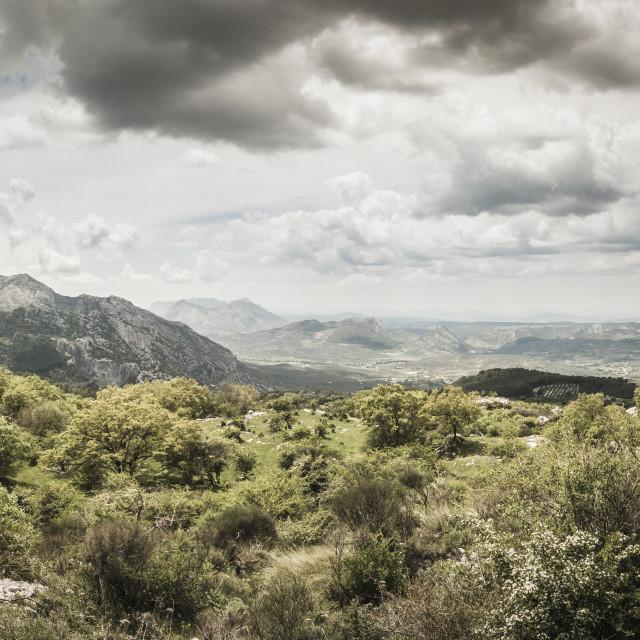 """Scenic limestone mountain landscape, Andalucia, Spain."" stock image"
