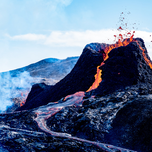 """""""Eruption in Fagradalsfjall"""" stock image"""