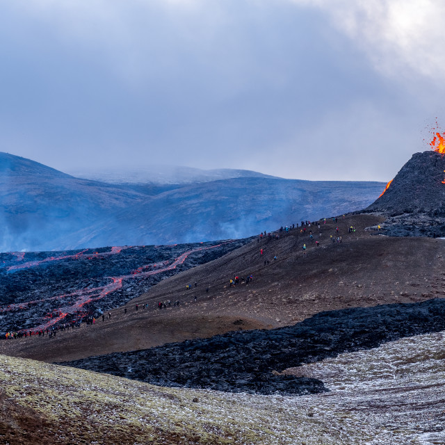 """""""2021-03-23 at 11-57-11 Snowing at the eruption in Geldingadalir in Iceland"""" stock image"""