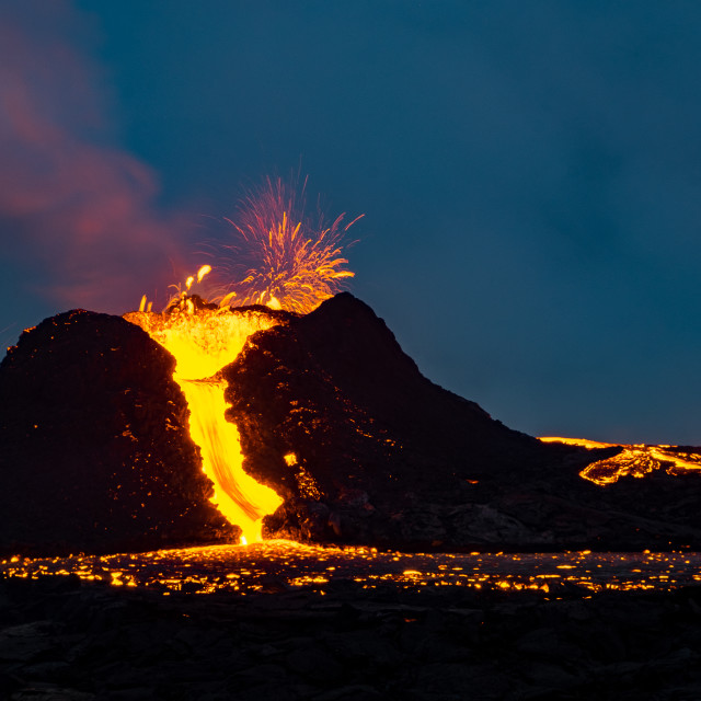 """""""Eruption in Fagradalsfjall at dusk"""" stock image"""