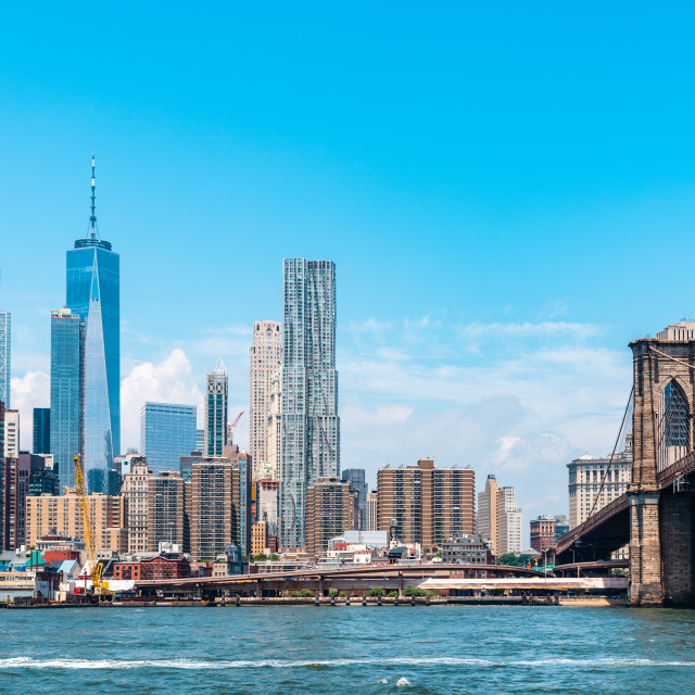 """""""Manhattan Bridge and cityscape of NYC from East River"""" stock image"""