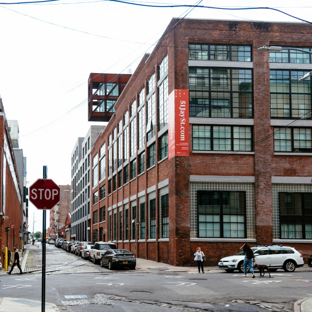 """""""Street view of DUMBO area in Brooklyn. New York City"""" stock image"""