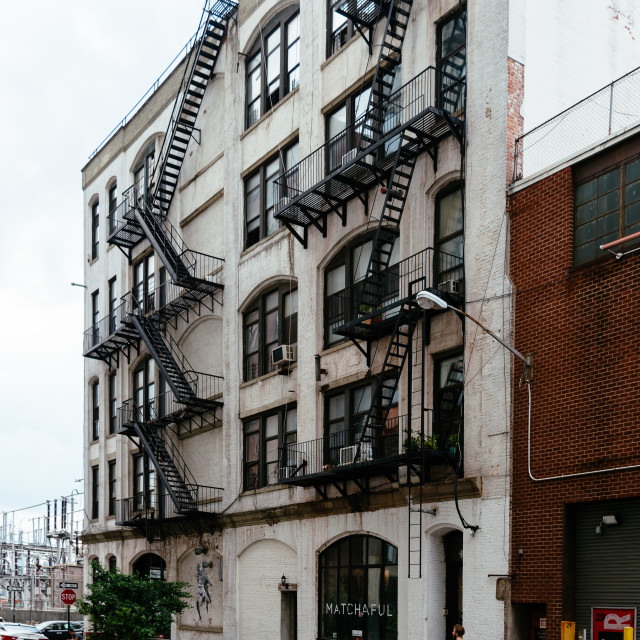 """""""Traditional Brooklyn building with fire escapes. New York City"""" stock image"""