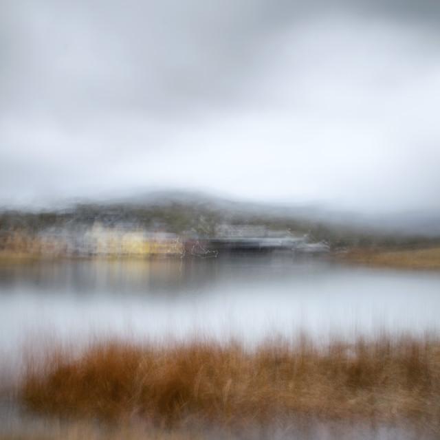 """Autumn afternoon - Lake Crackenback"" stock image"