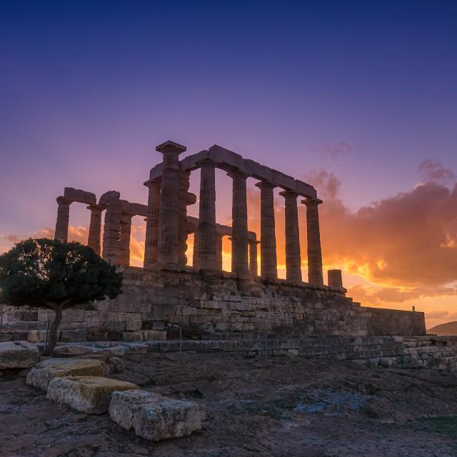 """Ancient temple of Poseidon"" stock image"