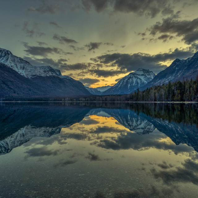 """""""travel-glacier-lake mcdonald-sunrise-april-"""" stock image"""
