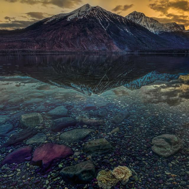"""""""travel-glacier-lake mcdonald-sunrise2-april-"""" stock image"""