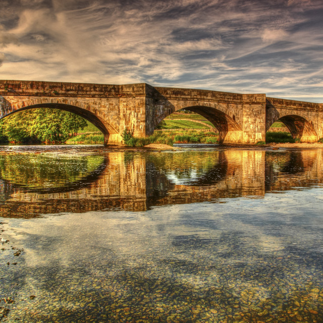 """""""HDR view of Burnsall bridge and the river wharfe in the Yorkshire dales uk"""" stock image"""