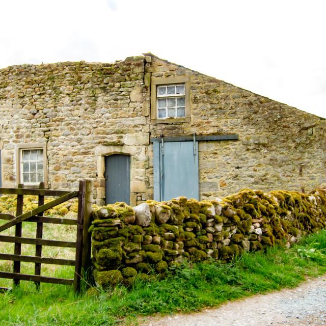 """Dales Way Walk, barn on Woodhouse Lane, Near Burnsall, Yorkshire."" stock image"