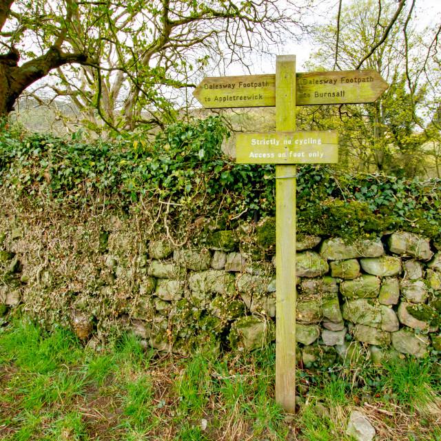 """Dales Way Walk ,Direction Sign, Near Burnsall, Yorkshire."" stock image"