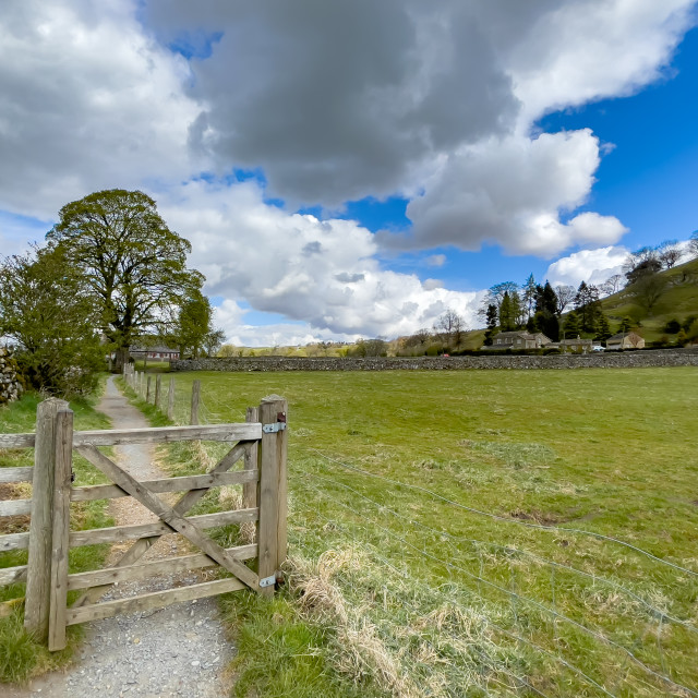 """""""Dales Way Footpath near Burnsall, Yorkshire Dales."""" stock image"""