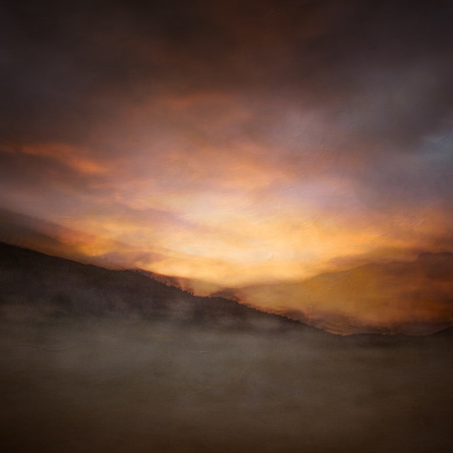 """Dawn on the Ramshead Range"" stock image"