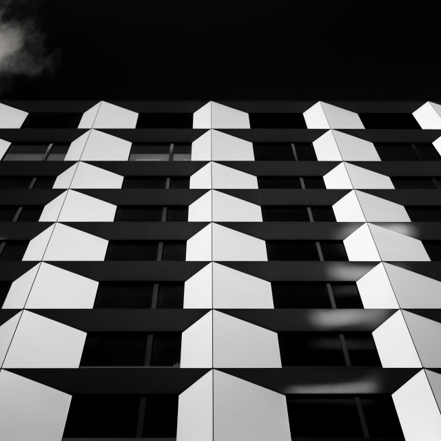 """""""""""Pentagons"""" - Architectural abstract of building exterior"""" stock image"""