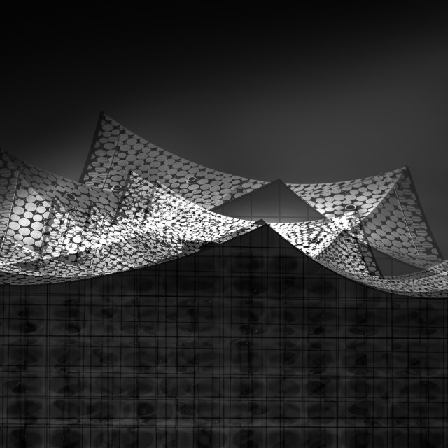 """""""""""City Sails"""" - Artistic architectural abstract of the Elbphilarmonie"""" stock image"""