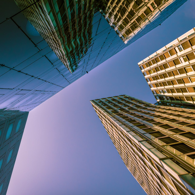 """""""""""City Dancing"""" - architectural abstract of modern high-rise buildings"""" stock image"""
