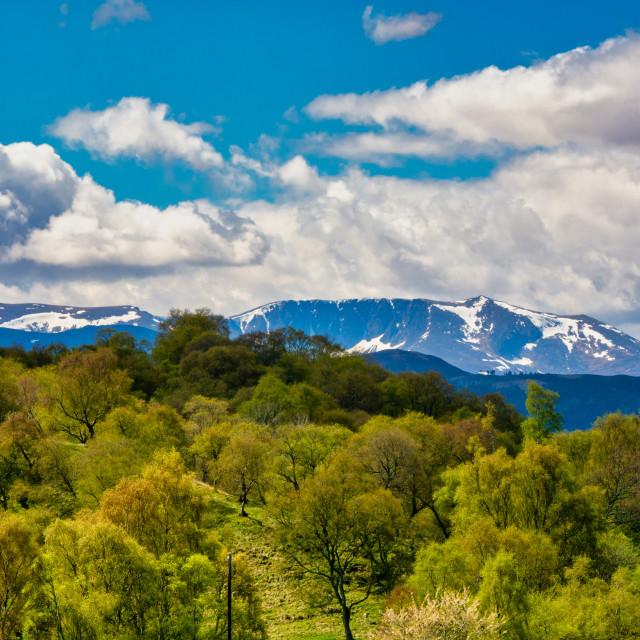 """Lochnagar Ridge With Snow"" stock image"