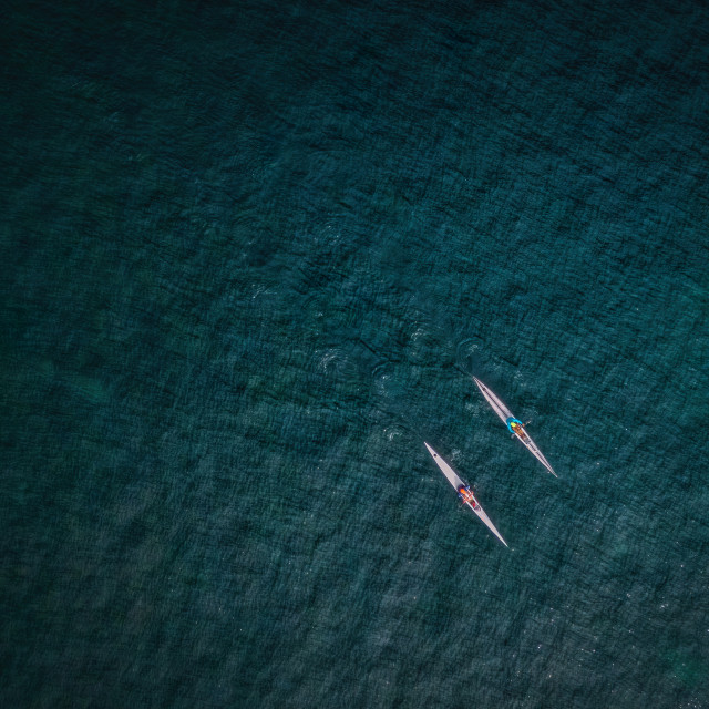 """Kayakers in the Ocean"" stock image"