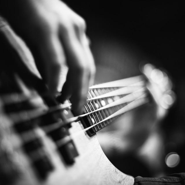 """""""Bass guitar playing"""" stock image"""