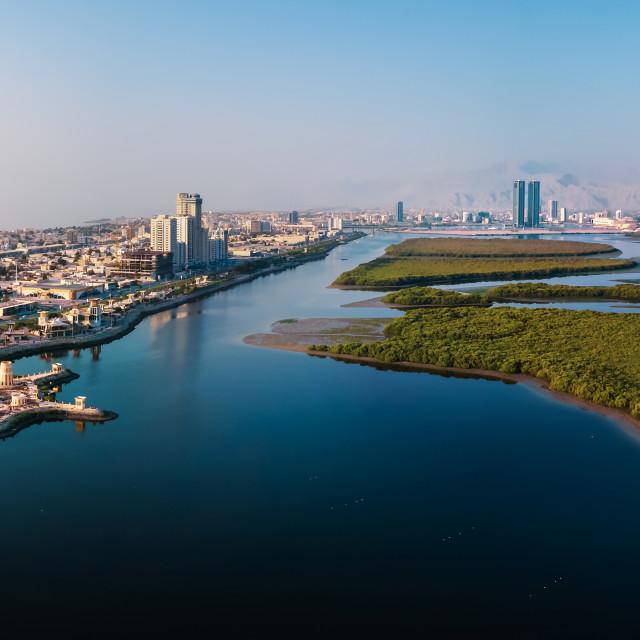 """Ras al Khaimah emirate in the north UAE aerial skyline cityscape"" stock image"