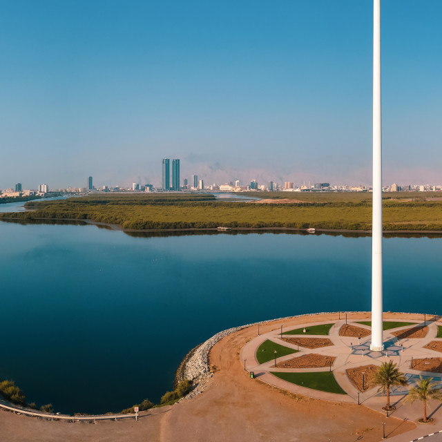 """UAE flag and Ras al Khaimah emirate in the north United Arab Emi"" stock image"
