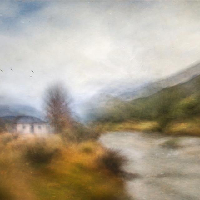 """""""Bullocks Hut - Thredbo River"""" stock image"""