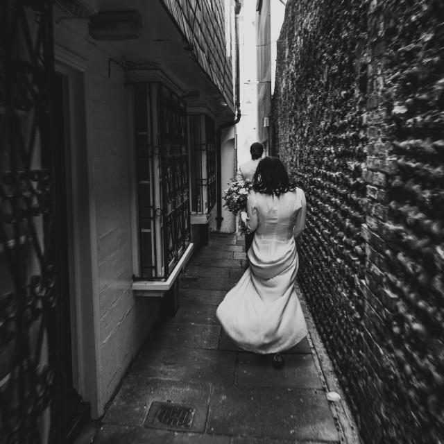 """Run away Bride and Groom"" stock image"