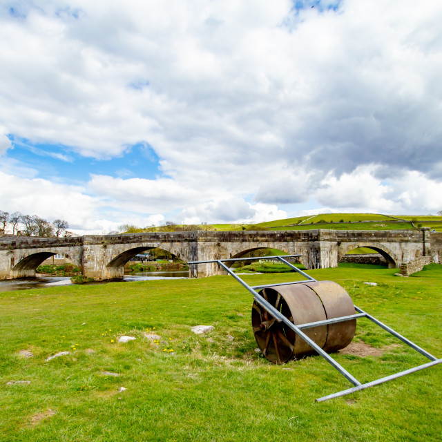 """""""Cricket Pitch Roller in Burnsall, Yorkshire Dales."""" stock image"""