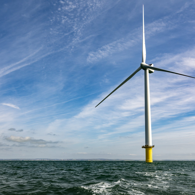 """""""Offshore windfarm turbine and expanse of sea and sky"""" stock image"""