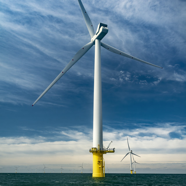 """""""Offshore wind turbine for sustainable energy production"""" stock image"""