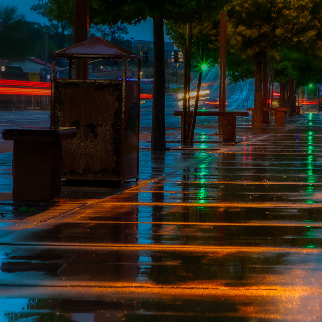 """morning-city-street-rain"" stock image"