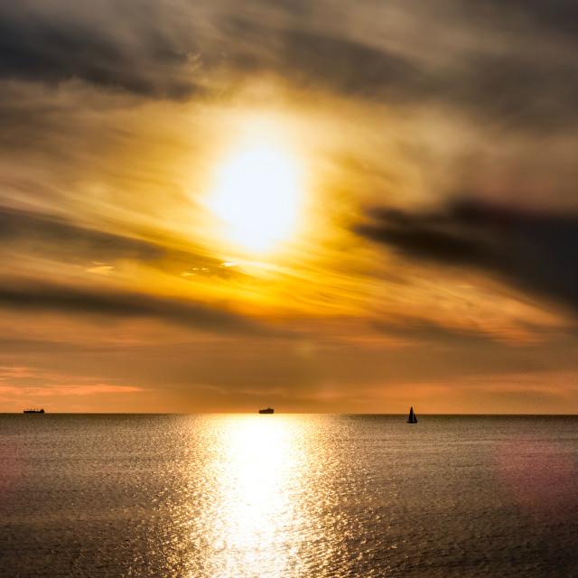"""Smoky Ocean Sunset"" stock image"