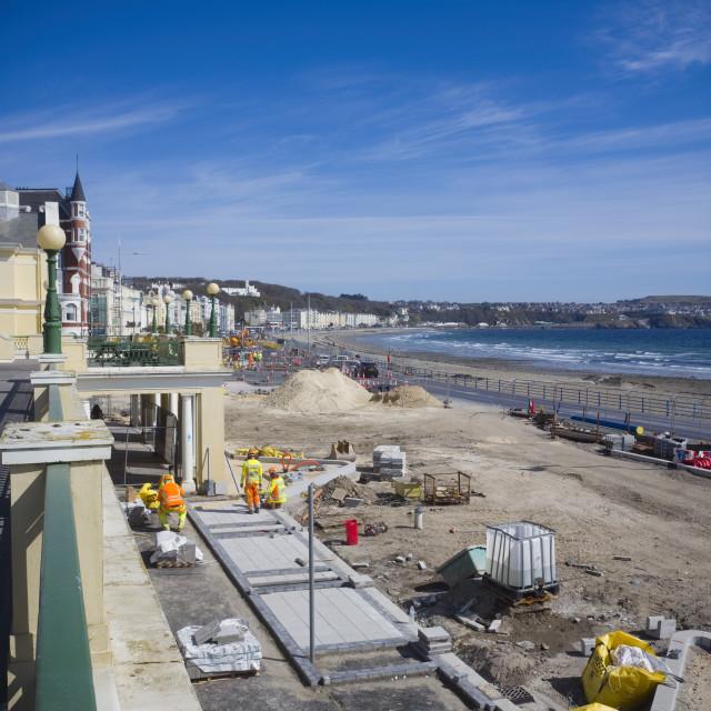 """Looking down onto promenade roadworks"" stock image"