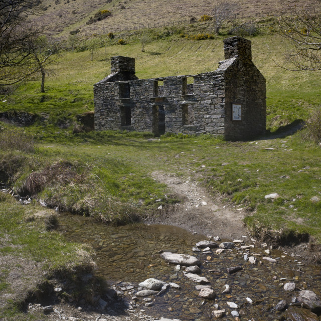 """""""Abandoned remote farmhouse at Glen Dhoo"""" stock image"""