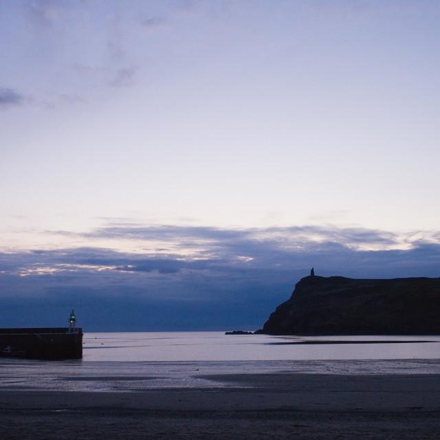 """Port Erin bay at dusk with Bradda Head"" stock image"