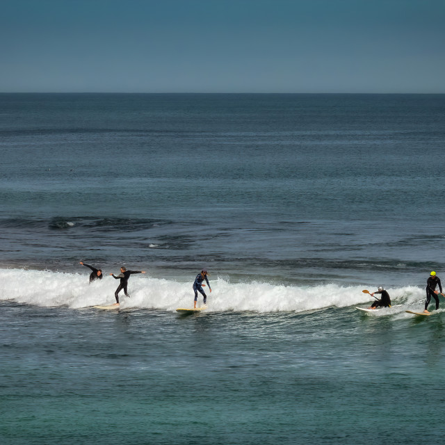 """""""Surfers at Trigg Beach"""" stock image"""