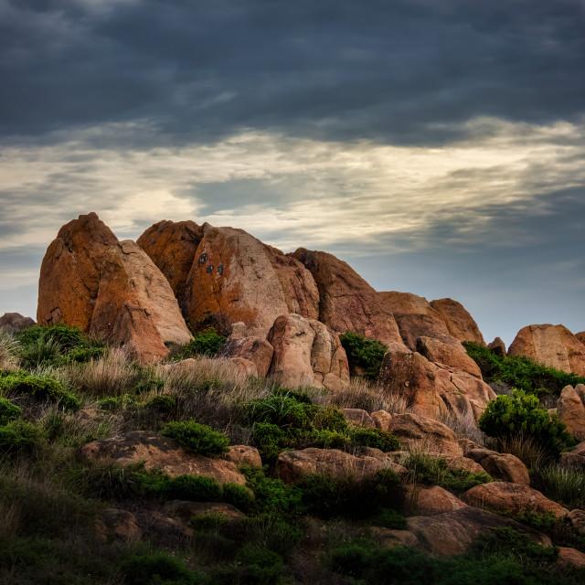"""Rock Outcrop at Cowaramup Beach"" stock image"