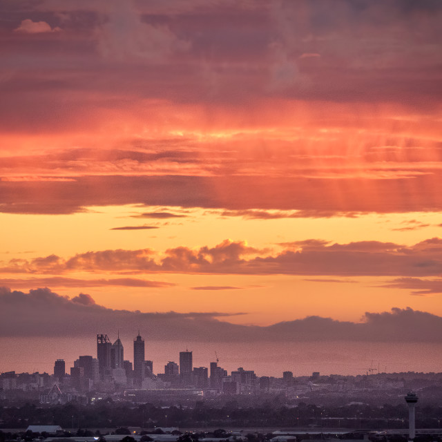 """""""Perth City Skyline from The Darling Range"""" stock image"""