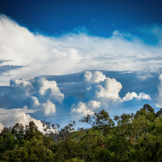 """""""Cumulus Clouds over the Perth Hills"""" stock image"""