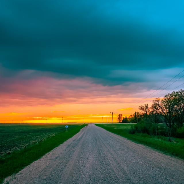 """Prairie Road Sunset"" stock image"