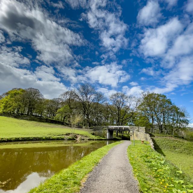 """Canal, Leeds Liverpool Canal, Near Silsden, Yorkshire."" stock image"