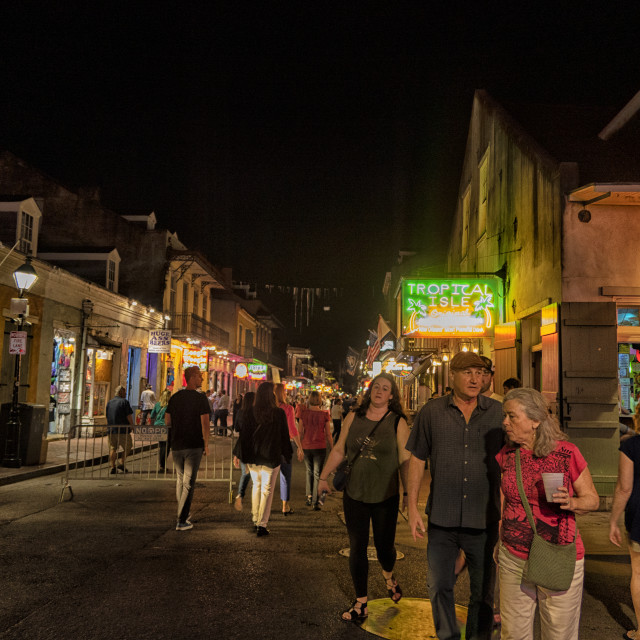 """Bourbon Street at night, French Quarter, New Orlean"" stock image"
