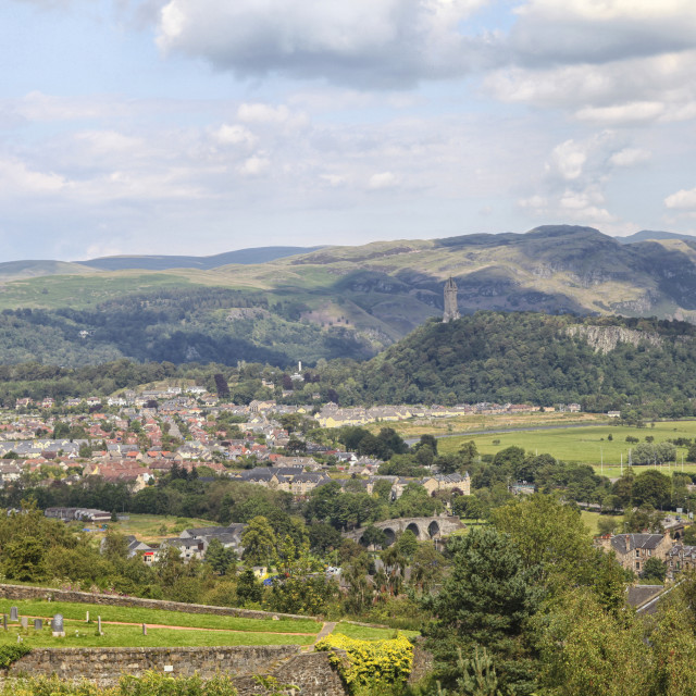 """""""View on Sterling village from the castle"""" stock image"""