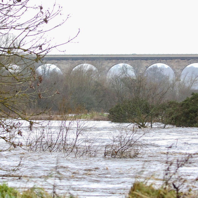 """River Wear in Flood"" stock image"
