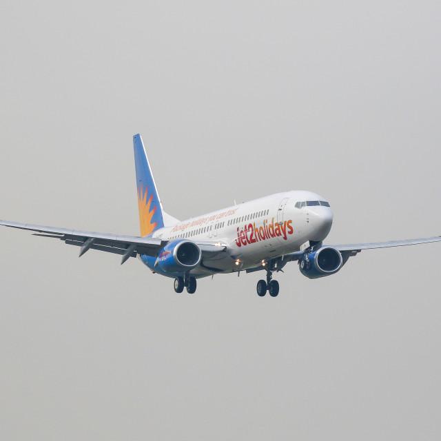 """Passenger plane at Newcastle Airport"" stock image"