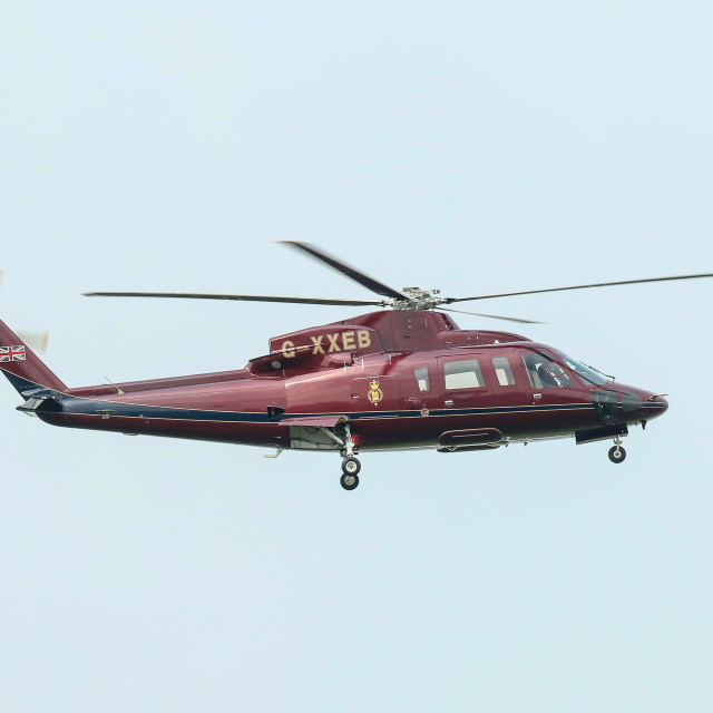 """""""Helicopter 'Heir Force One' at Newcastle Airport"""" stock image"""