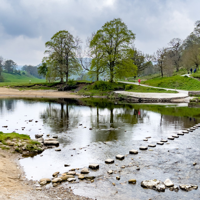 """""""River Wharfe Stepping Stones at Bolton Abbey, Yorkshire Dales."""" stock image"""