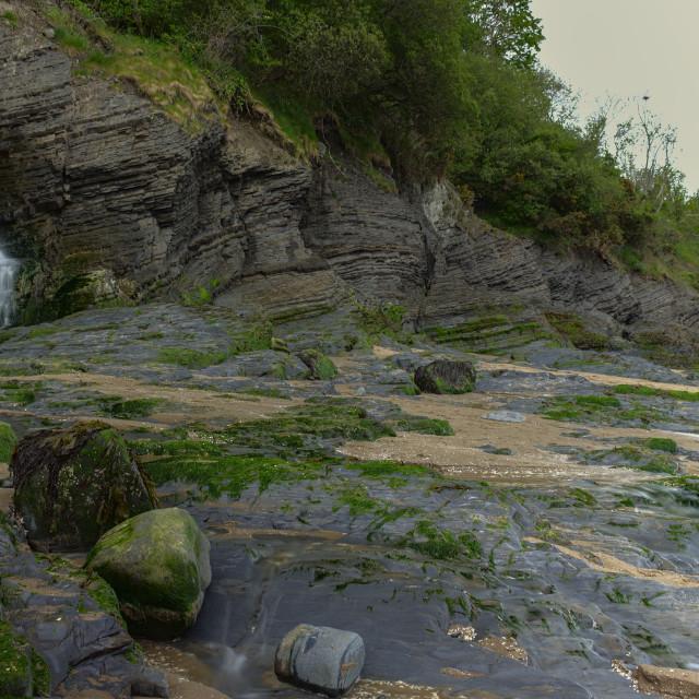 """New Quay Waterfall"" stock image"